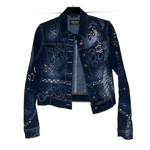Jackets & Blazers - Dark Denim embellished jean jacket